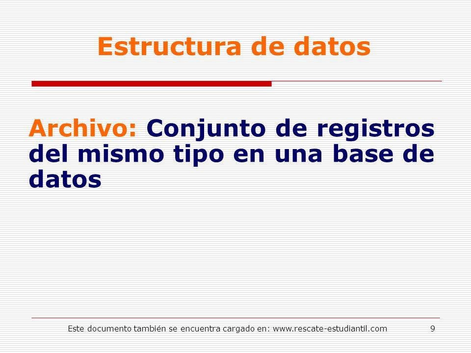 Estructura de datos Archivo: Conjunto de registros del mismo tipo en una base de datos 9Este documento también se encuentra cargado en: www.rescate-es