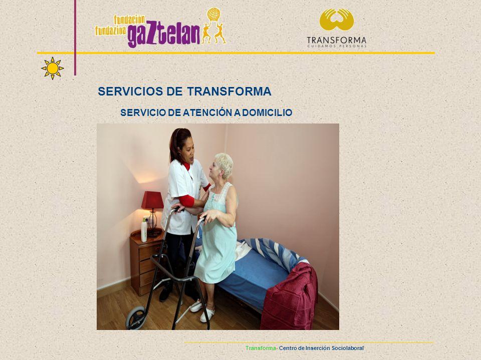 SERVICIOS DE TRANSFORMA SERVICIO DE ATENCIÓN A DOMICILIO Transforma- Centro de Inserción Sociolaboral