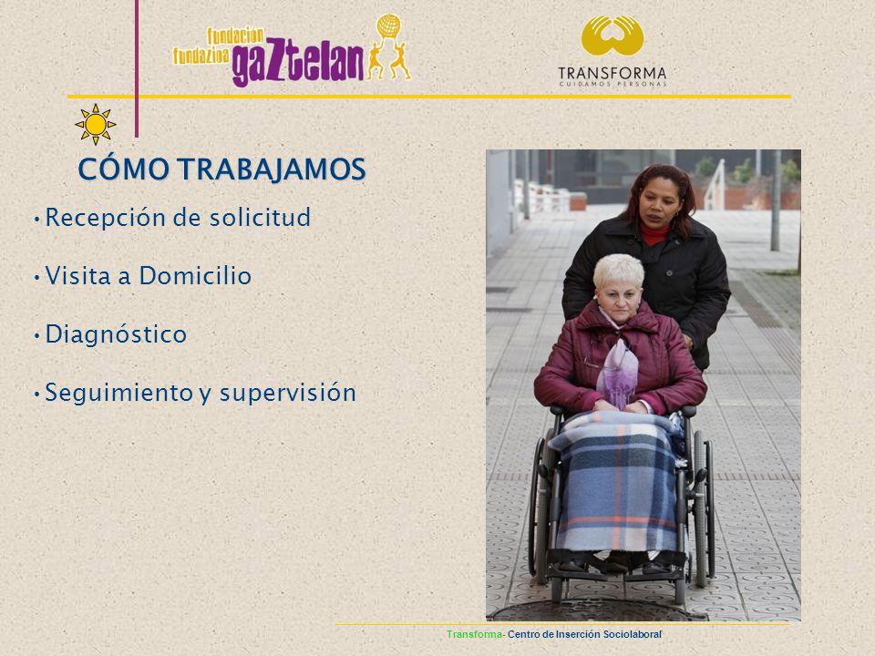 Recepción de solicitud Visita a Domicilio Diagnóstico Seguimiento y supervisión CÓMO TRABAJAMOS Transforma- Centro de Inserción Sociolaboral