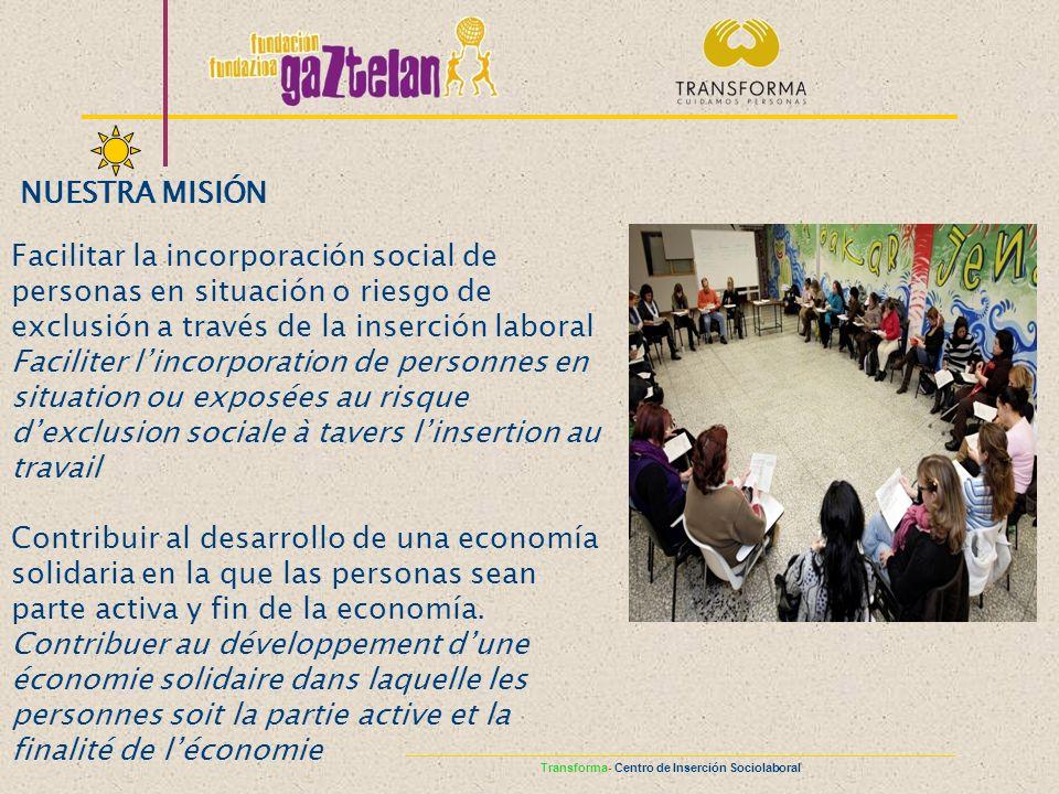 NUESTRA MISIÓN Facilitar la incorporación social de personas en situación o riesgo de exclusión a través de la inserción laboral Faciliter lincorporat
