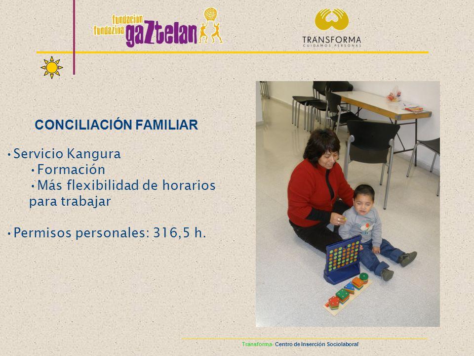 Servicio Kangura Formación Más flexibilidad de horarios para trabajar Permisos personales: 316,5 h. CONCILIACIÓN FAMILIAR