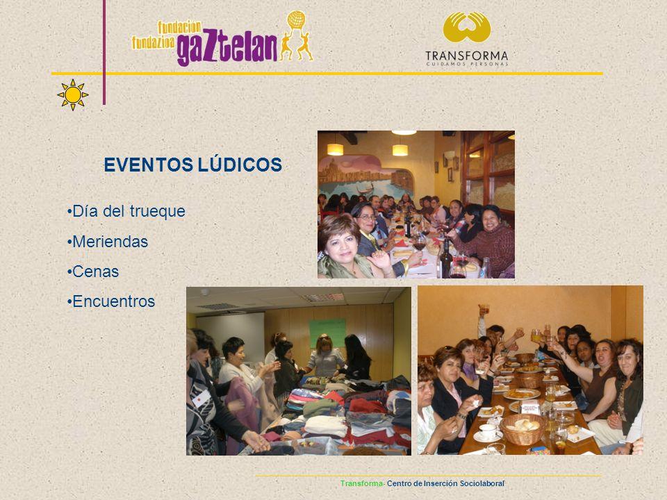Transforma- Centro de Inserción Sociolaboral EVENTOS LÚDICOS Día del trueque Meriendas Cenas Encuentros