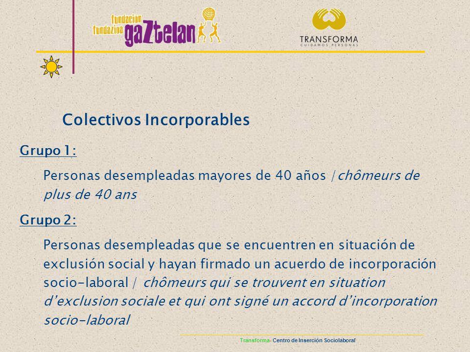 Colectivos Incorporables Grupo 1: Personas desempleadas mayores de 40 años /chômeurs de plus de 40 ans Grupo 2: Personas desempleadas que se encuentre