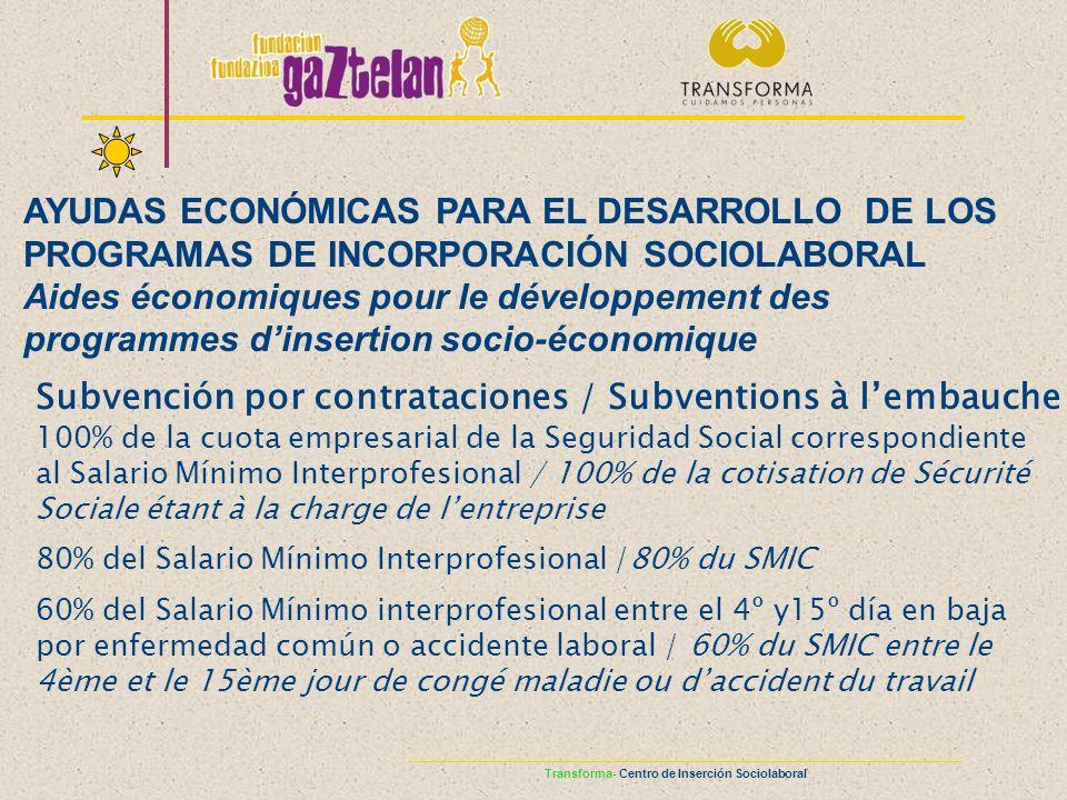 Subvención por contrataciones / Subventions à lembauche 100% de la cuota empresarial de la Seguridad Social correspondiente al Salario Mínimo Interpro