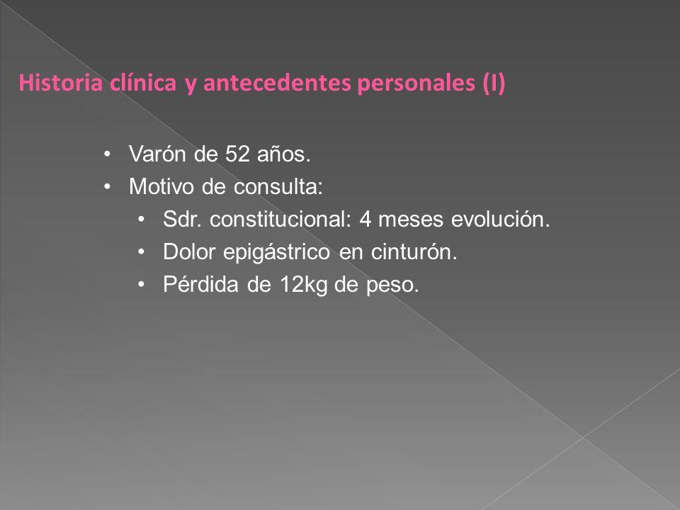 Historia clínica y antecedentes personales (II) Antecedentes personales HTA, DM tipo 2.