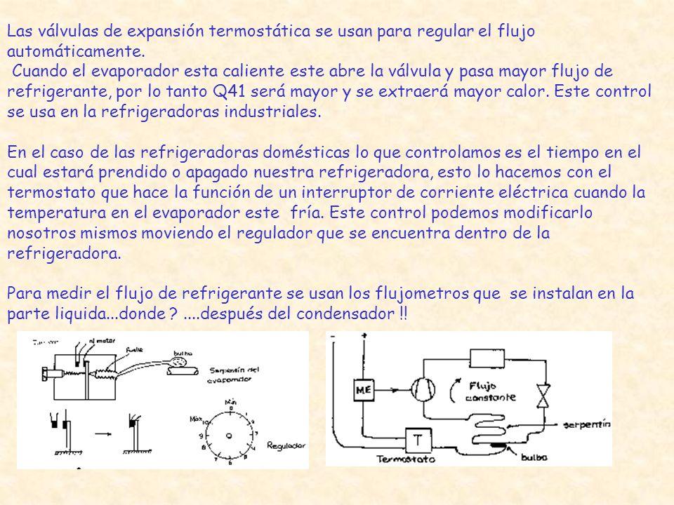 Las válvulas de expansión termostática se usan para regular el flujo automáticamente. Cuando el evaporador esta caliente este abre la válvula y pasa m
