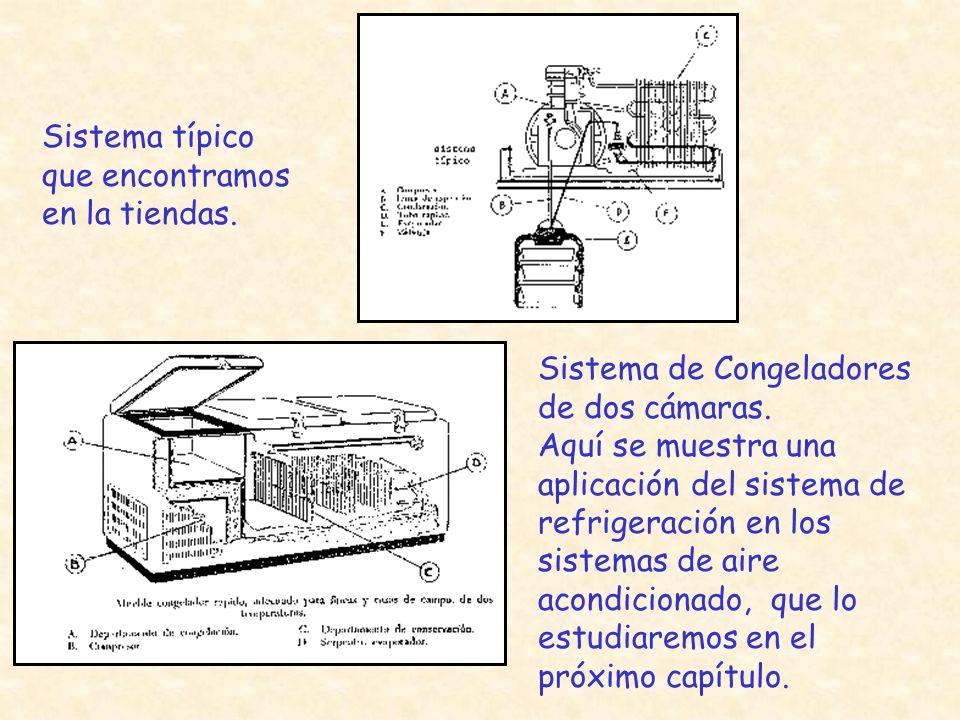 Sistema típico que encontramos en la tiendas. Sistema de Congeladores de dos cámaras. Aquí se muestra una aplicación del sistema de refrigeración en l