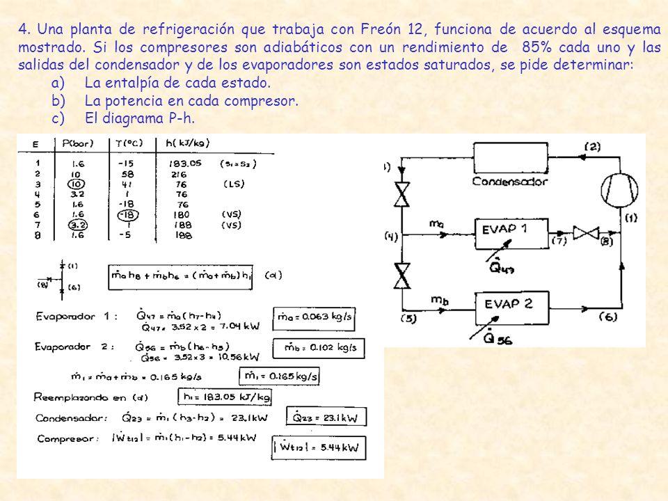 4. Una planta de refrigeración que trabaja con Freón 12, funciona de acuerdo al esquema mostrado. Si los compresores son adiabáticos con un rendimient