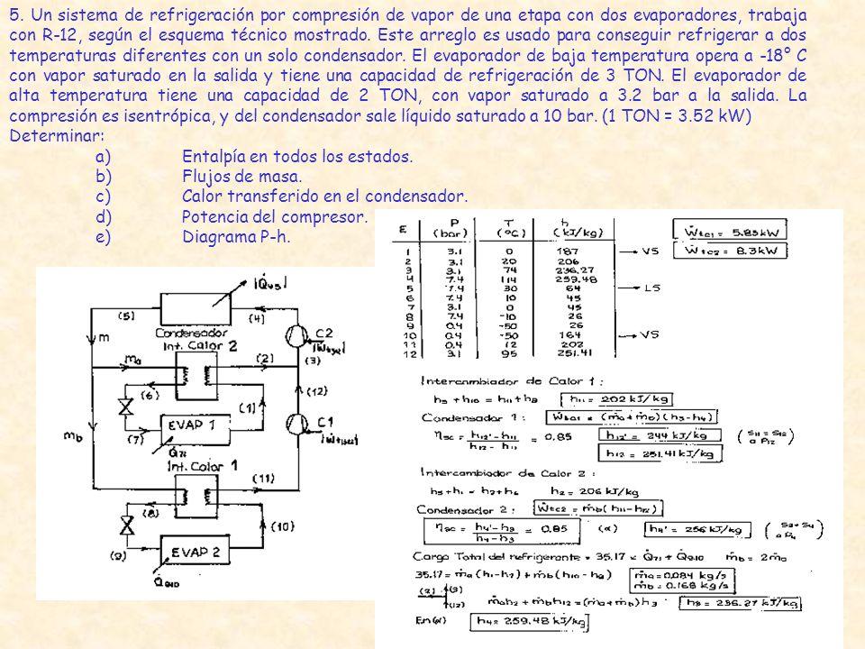 5. Un sistema de refrigeración por compresión de vapor de una etapa con dos evaporadores, trabaja con R-12, según el esquema técnico mostrado. Este ar