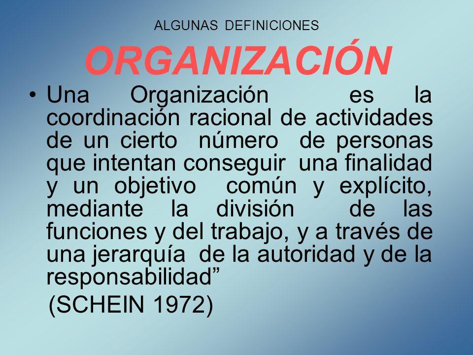 ALGUNAS DEFINICIONES ORGANIZACIÓN Una Organización es la coordinación racional de actividades de un cierto número de personas que intentan conseguir u