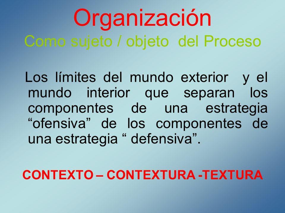 Organización Como sujeto / objeto del Proceso Los límites del mundo exterior y el mundo interior que separan los componentes de una estrategia ofensiv