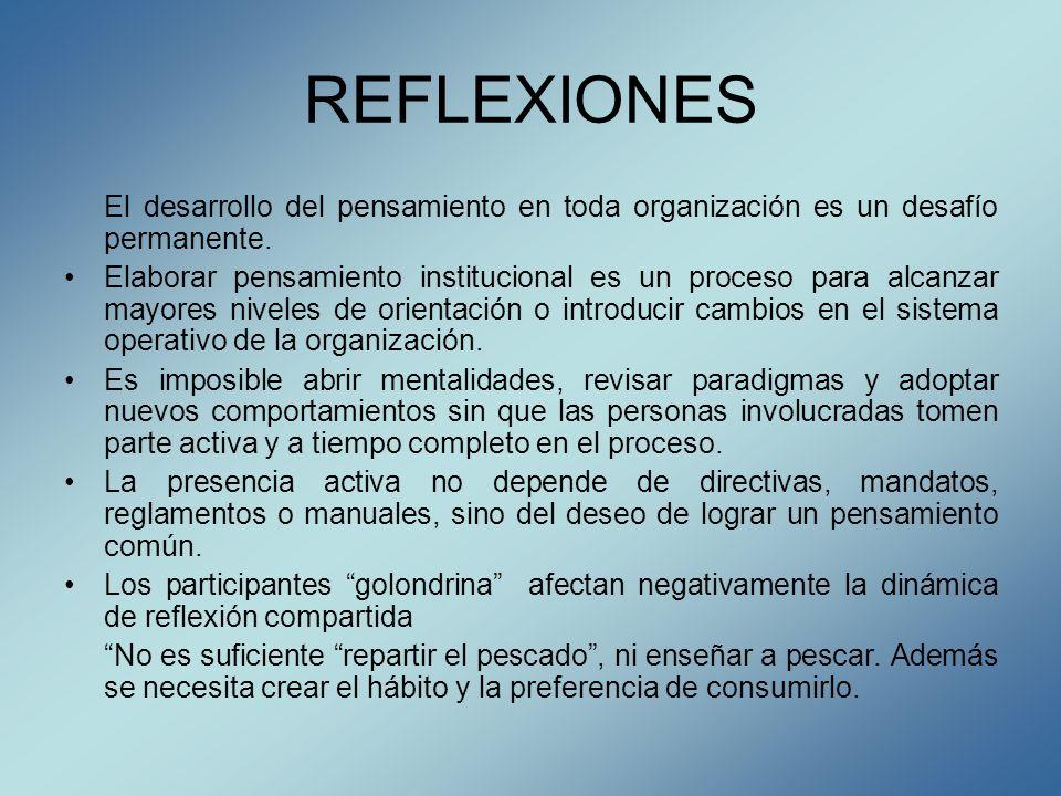 REFLEXIONES El desarrollo del pensamiento en toda organización es un desafío permanente. Elaborar pensamiento institucional es un proceso para alcanza