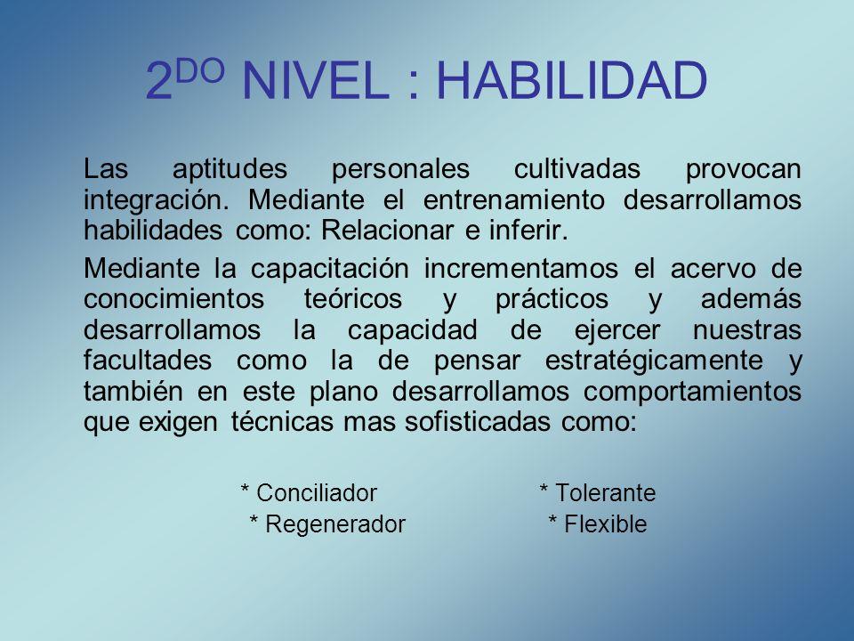 2 DO NIVEL : HABILIDAD Las aptitudes personales cultivadas provocan integración. Mediante el entrenamiento desarrollamos habilidades como: Relacionar