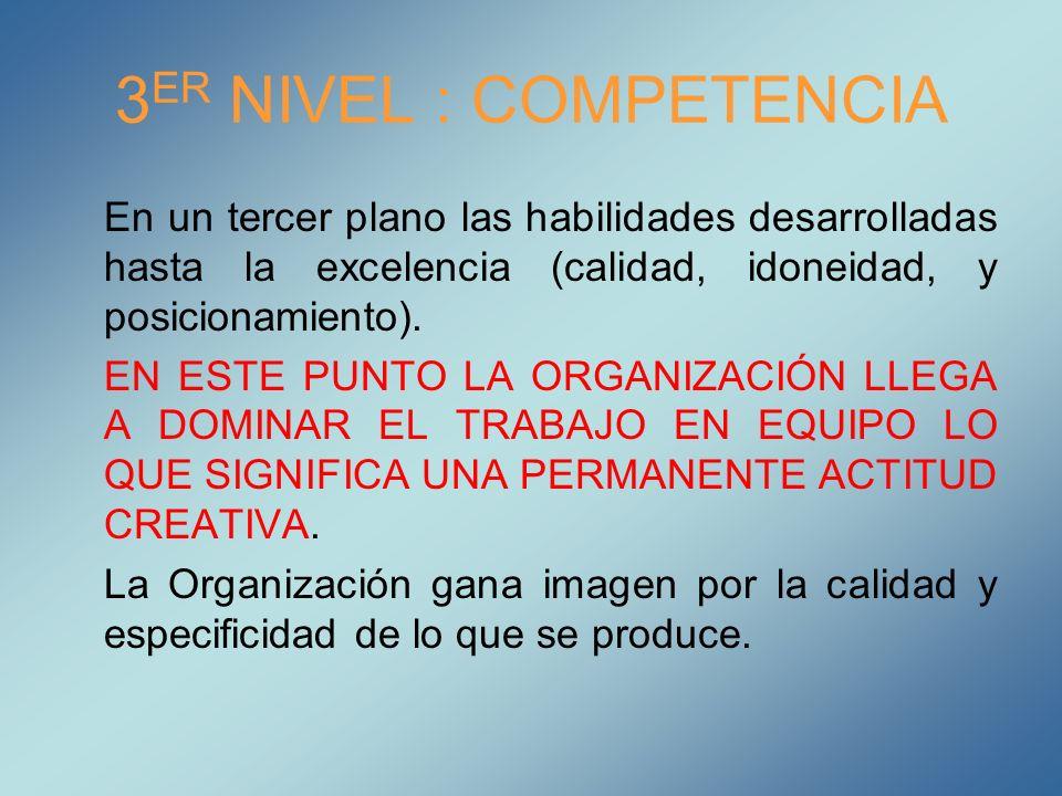 3 ER NIVEL : COMPETENCIA En un tercer plano las habilidades desarrolladas hasta la excelencia (calidad, idoneidad, y posicionamiento). EN ESTE PUNTO L