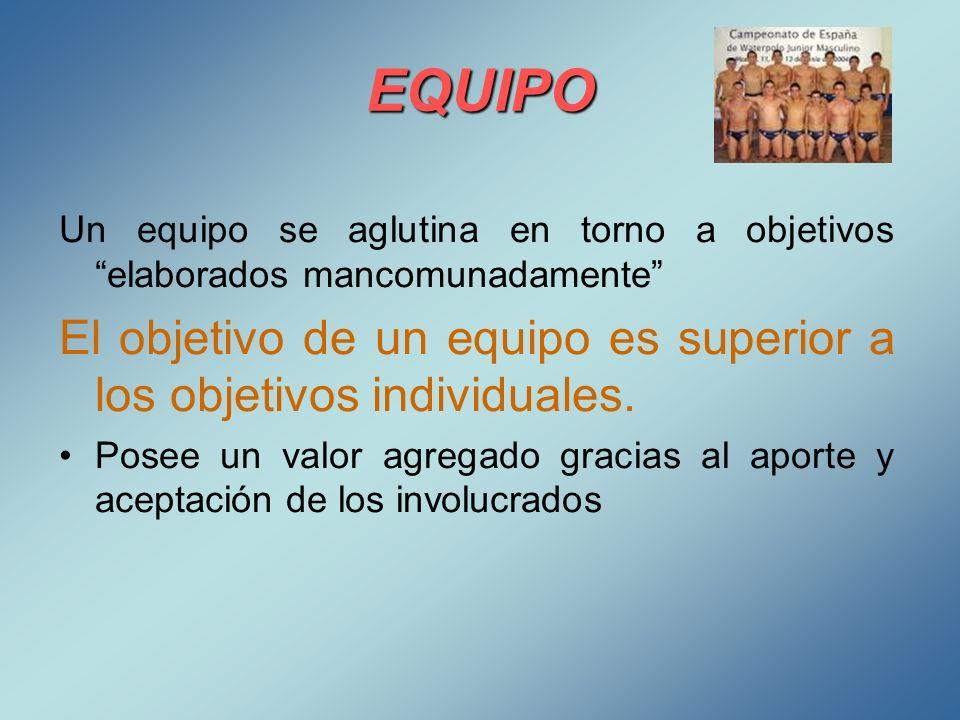 EQUIPO Un equipo se aglutina en torno a objetivos elaborados mancomunadamente El objetivo de un equipo es superior a los objetivos individuales. Posee