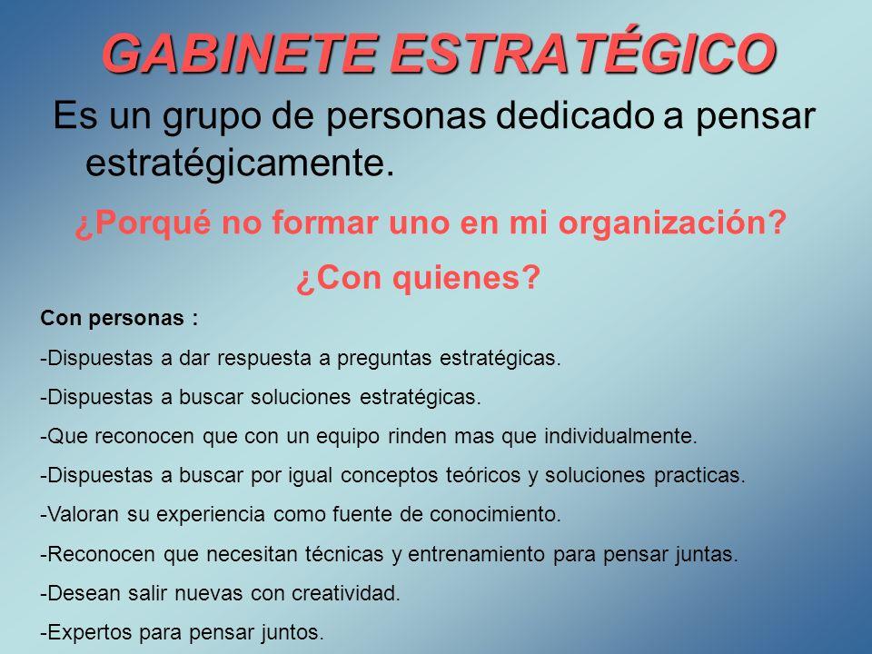 GABINETE ESTRATÉGICO Es un grupo de personas dedicado a pensar estratégicamente. ¿Porqué no formar uno en mi organización? ¿Con quienes? Con personas
