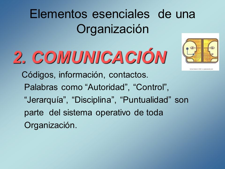 Elementos esenciales de una Organización 2. COMUNICACIÓN Códigos, información, contactos. Palabras como Autoridad, Control, Jerarquía, Disciplina, Pun