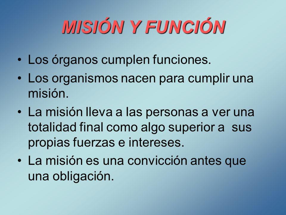 MISIÓN Y FUNCIÓN Los órganos cumplen funciones. Los organismos nacen para cumplir una misión. La misión lleva a las personas a ver una totalidad final