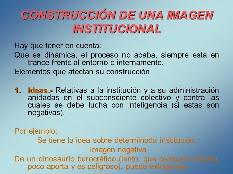 CONSTRUCCIÓN DE UNA IMAGEN INSTITUCIONAL Hay que tener en cuenta: Que es dinámica, el proceso no acaba, siempre esta en trance frente al entorno e int