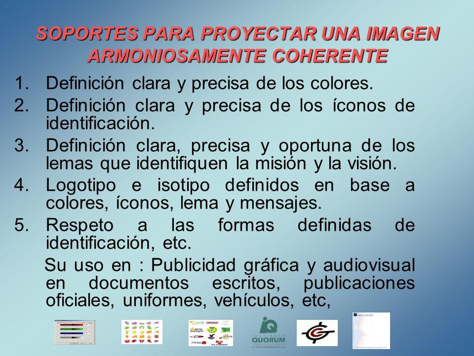 SOPORTES PARA PROYECTAR UNA IMAGEN ARMONIOSAMENTE COHERENTE 1.Definición clara y precisa de los colores. 2.Definición clara y precisa de los íconos de