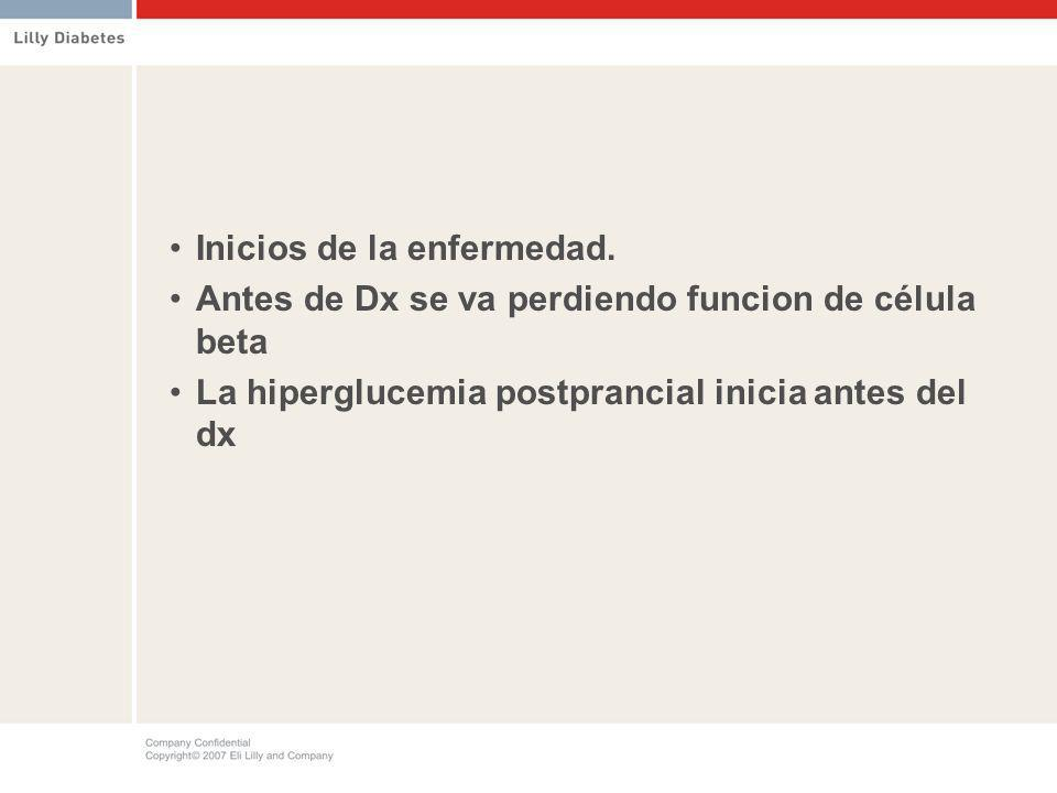 Inicios de la enfermedad. Antes de Dx se va perdiendo funcion de célula beta La hiperglucemia postprancial inicia antes del dx