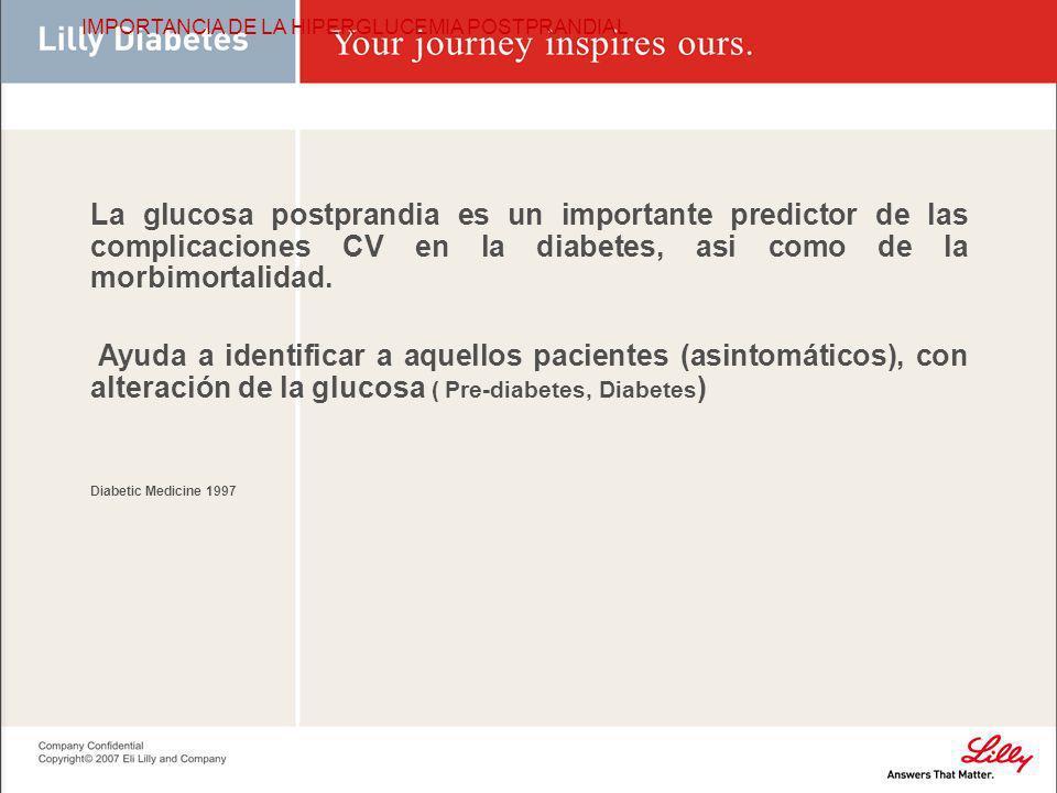 IMPORTANCIA DE LA HIPERGLUCEMIA POSTPRANDIAL La glucosa postprandia es un importante predictor de las complicaciones CV en la diabetes, asi como de la