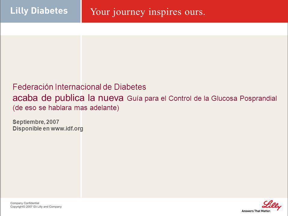 La guía posprandial se basa en la Guía Global para la Diabetes Tipo 2 Incorpora nueva evidencia desde 2005 Dirige el manejo de la hiperglucemia posprandial y sus implicaciones para: Riesgo Macrovascular y Microvascular Control global de la glucemia Incluye tanto a la diabetes Tipo 1 y Tipo 2 en las recomendaciones
