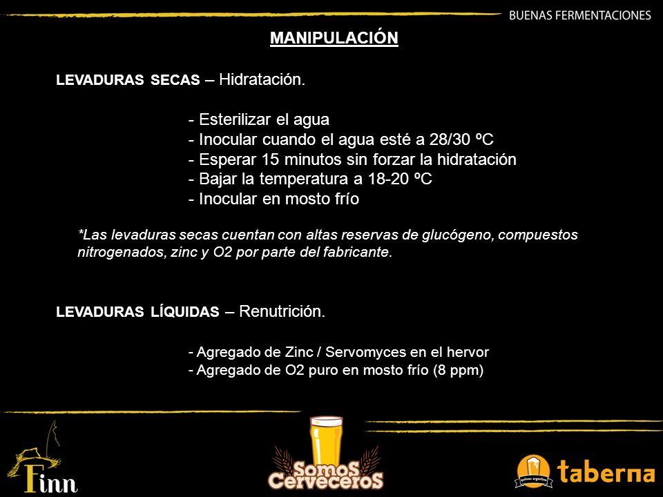 LEVADURAS SECAS – Hidratación. - Esterilizar el agua - Inocular cuando el agua esté a 28/30 ºC - Esperar 15 minutos sin forzar la hidratación - Bajar