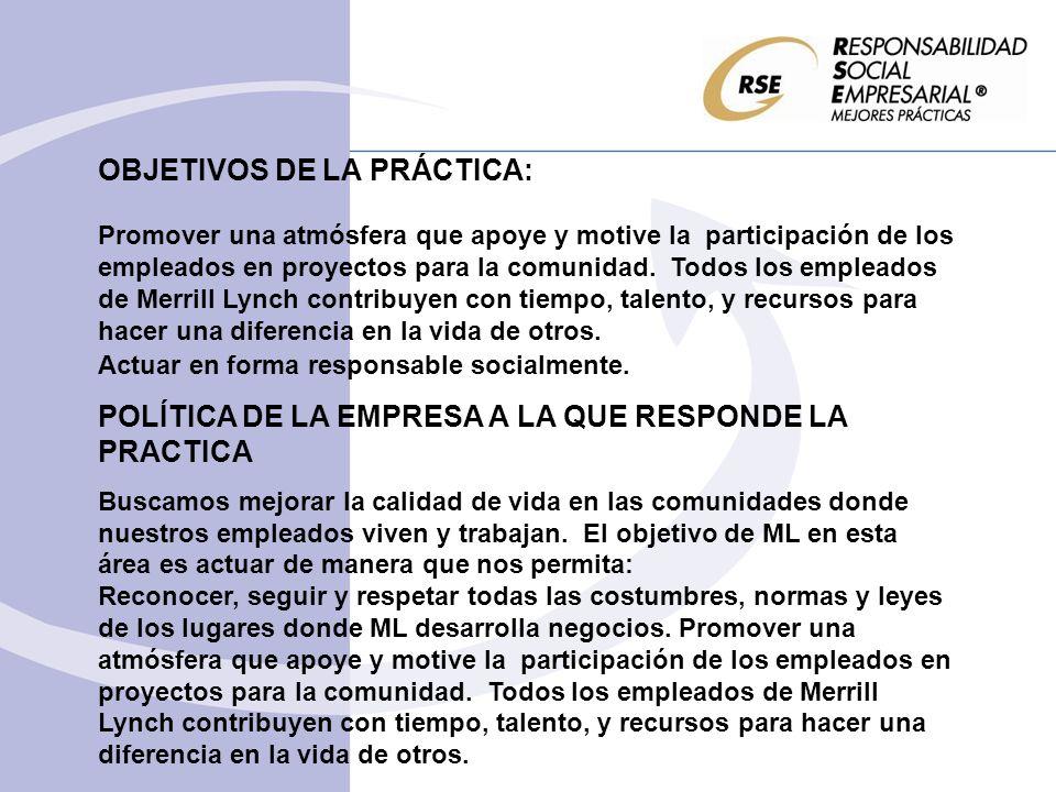 OBJETIVOS DE LA PRÁCTICA: Promover una atmósfera que apoye y motive la participación de los empleados en proyectos para la comunidad. Todos los emplea