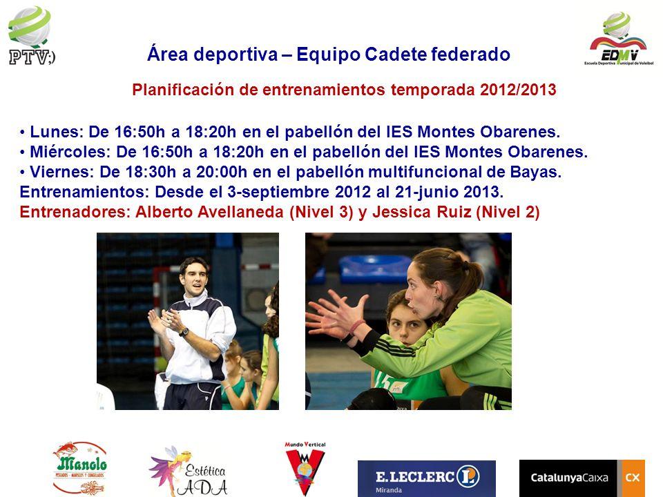 Planificación de entrenamientos temporada 2012/2013 Lunes: De 16:50h a 18:20h en el pabellón del IES Montes Obarenes. Miércoles: De 16:50h a 18:20h en