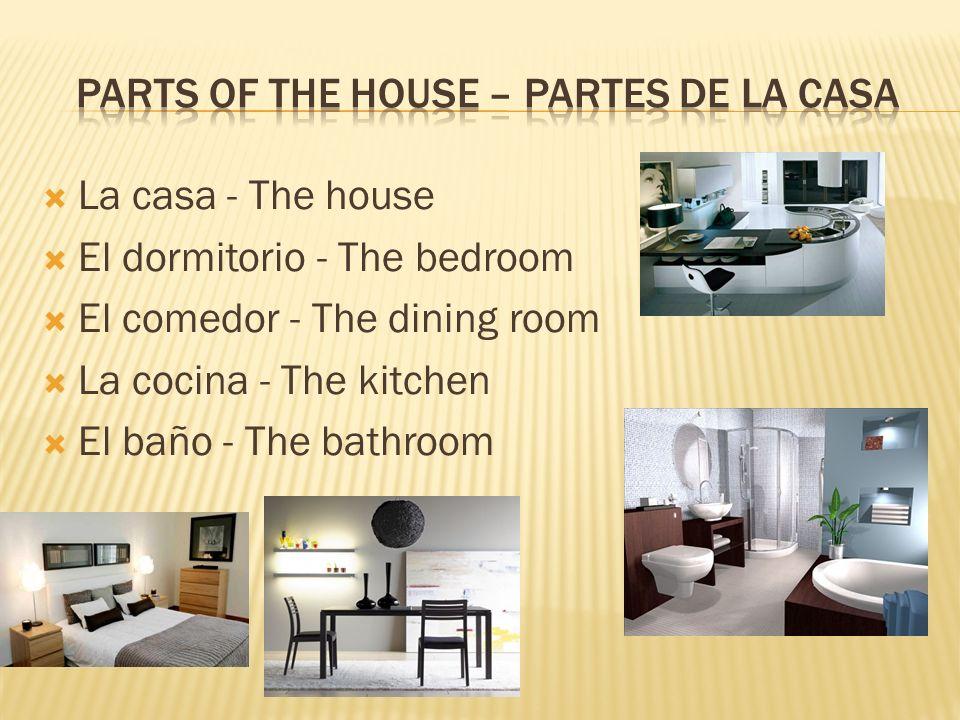 La sala - The living room El lavadero - The laundry room El sótano - The basement El garaje -The garage El jardín - The yard
