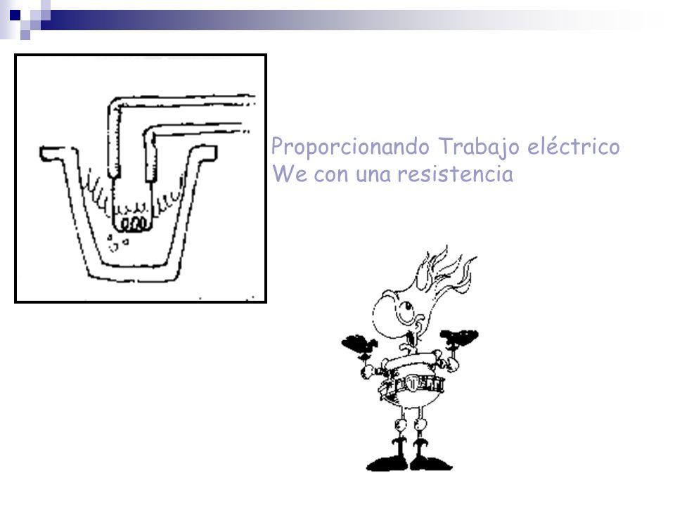 Proporcionando Trabajo eléctrico We con una resistencia