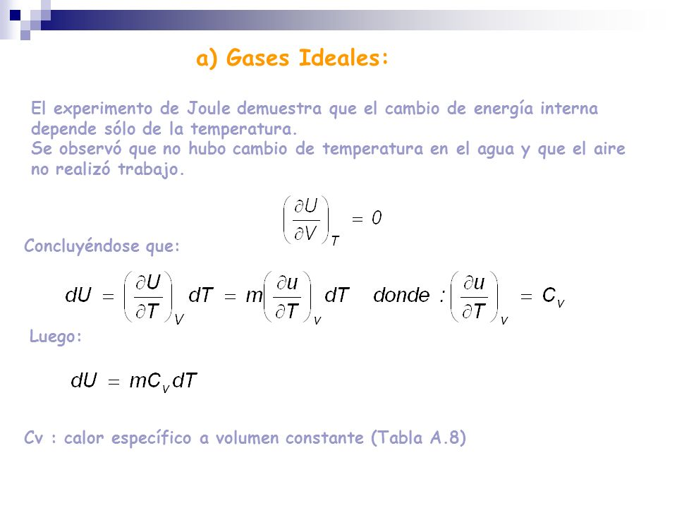 El experimento de Joule demuestra que el cambio de energía interna depende sólo de la temperatura. Se observó que no hubo cambio de temperatura en el