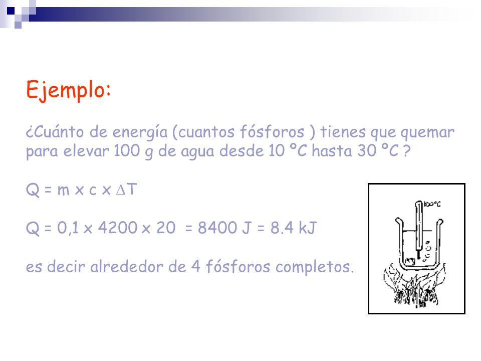 Ejemplo: ¿Cuánto de energía (cuantos fósforos ) tienes que quemar para elevar 100 g de agua desde 10 ºC hasta 30 ºC ? Q = m x c x T Q = 0,1 x 4200 x 2