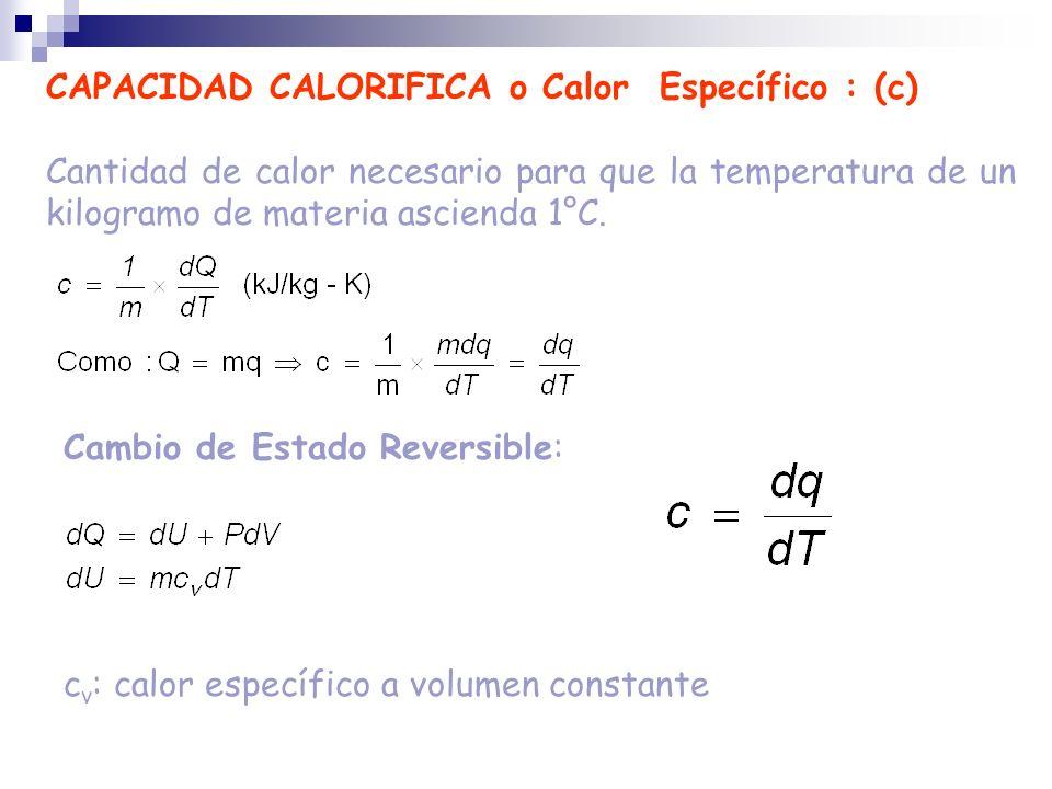 CAPACIDAD CALORIFICA o Calor Específico : (c) Cantidad de calor necesario para que la temperatura de un kilogramo de materia ascienda 1°C. c v : calor