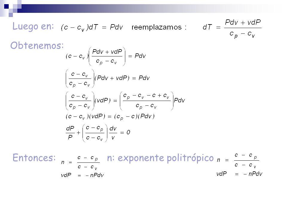 Luego en: Obtenemos: Entonces: n: exponente politrópico