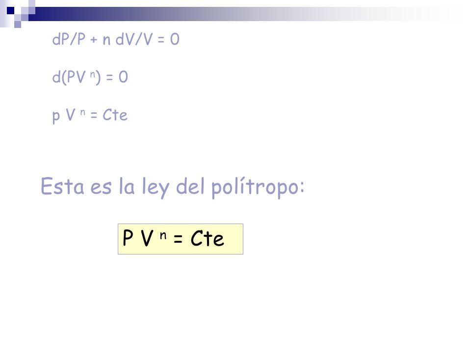 dP/P + n dV/V = 0 d(PV n ) = 0 p V n = Cte P V n = Cte Esta es la ley del polítropo: