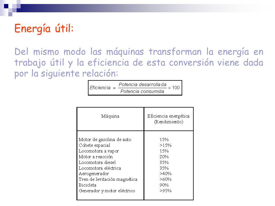 Energía útil: Del mismo modo las máquinas transforman la energía en trabajo útil y la eficiencia de esta conversión viene dada por la siguiente relaci