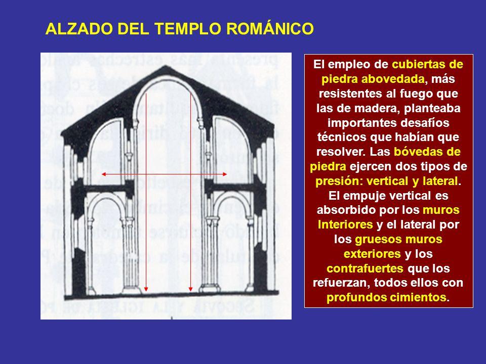 Vanos (permiten la entrada de luz) Tribuna (segundo piso sobre las naves laterales) arcadas Los muros interiores que se abren a la nave central tienen dos niveles (arcadas y tribuna) o tres niveles (arcadas, tribuna y ventanas).