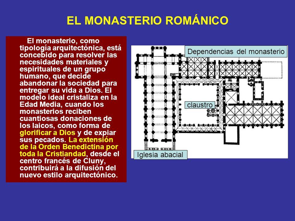 EL CLAUSTRO ROMÁNICO Se trata de un patio adosado al templo, en torno al cual se construye una galería cubierta sostenida por arcos de 1/2 punto que descansan sobre columnas generalmente pareadas.