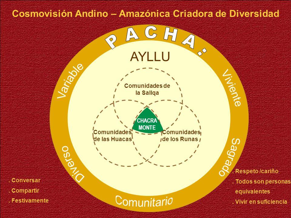 AYLLU Comunidades de la Sallqa Comunidades de las Huacas Comunidades de los Runas CHACRA MONTE Cosmovisión Andino – Amazónica Criadora de Diversidad.