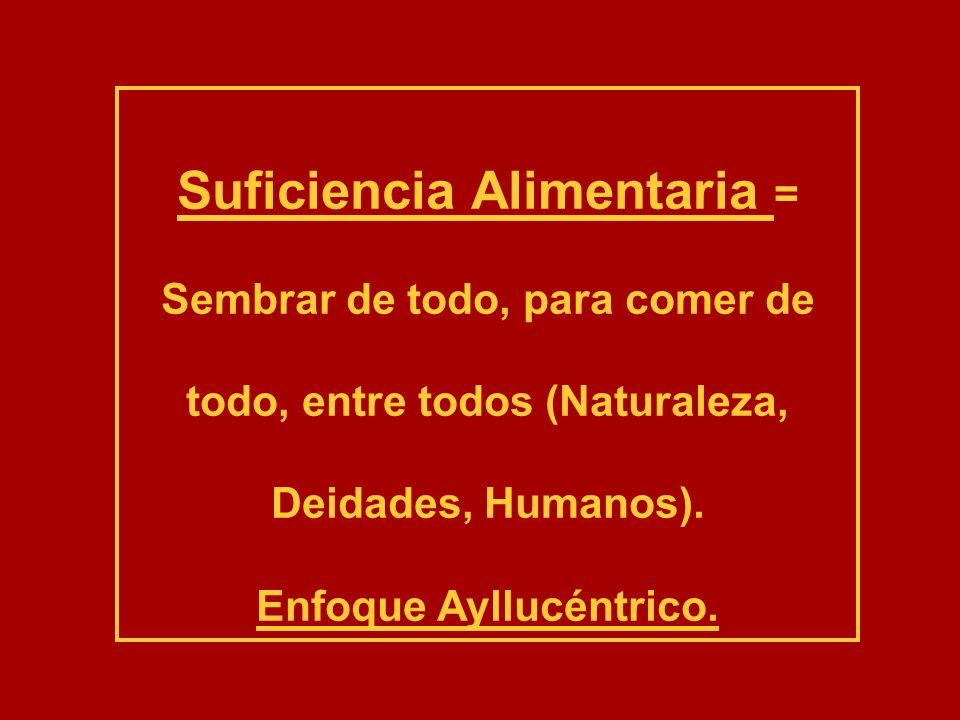 Suficiencia Alimentaria = Sembrar de todo, para comer de todo, entre todos (Naturaleza, Deidades, Humanos). Enfoque Ayllucéntrico.