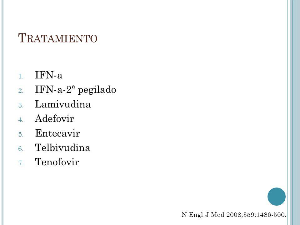 T RATAMIENTO 1. IFN-a 2. IFN-a-2ª pegilado 3. Lamivudina 4. Adefovir 5. Entecavir 6. Telbivudina 7. Tenofovir N Engl J Med 2008;359:1486-500.