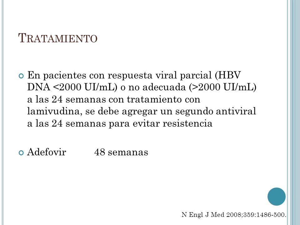 T RATAMIENTO En pacientes con respuesta viral parcial (HBV DNA 2000 UI/mL) a las 24 semanas con tratamiento con lamivudina, se debe agregar un segundo