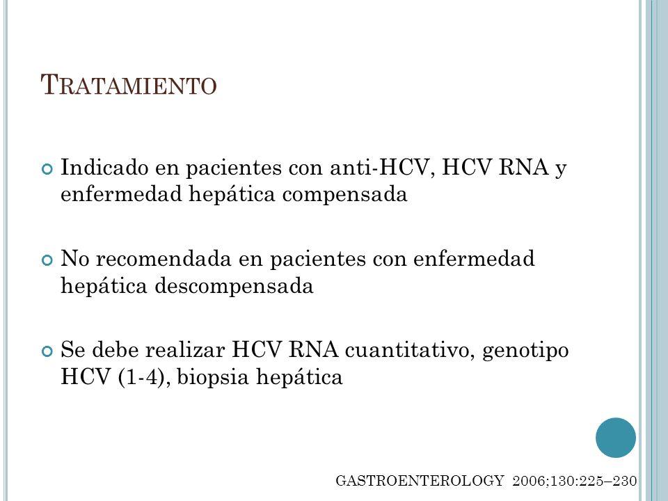 T RATAMIENTO Indicado en pacientes con anti-HCV, HCV RNA y enfermedad hepática compensada No recomendada en pacientes con enfermedad hepática descompe