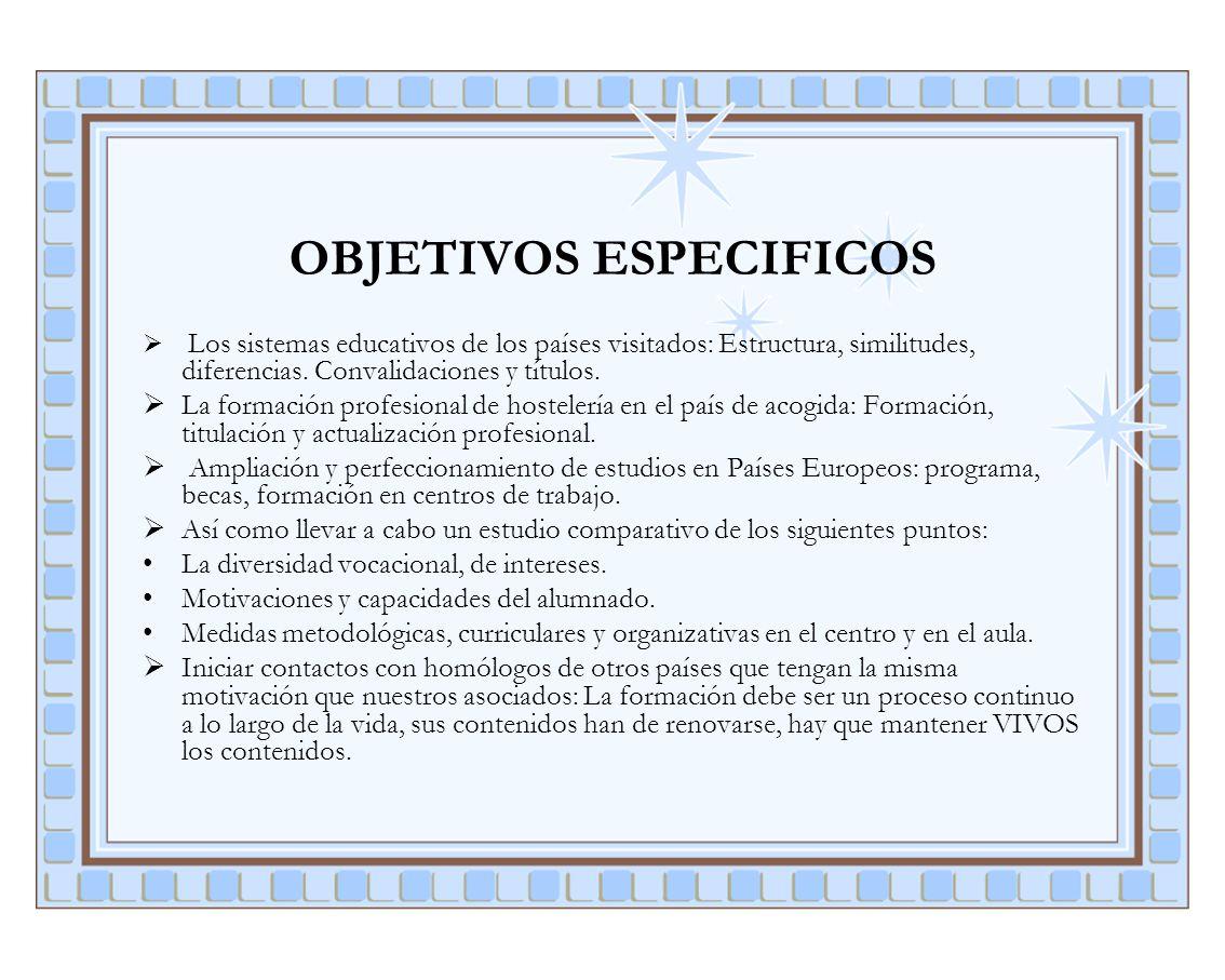 OBJETIVOS ESPECIFICOS Los sistemas educativos de los países visitados: Estructura, similitudes, diferencias. Convalidaciones y títulos. La formación p