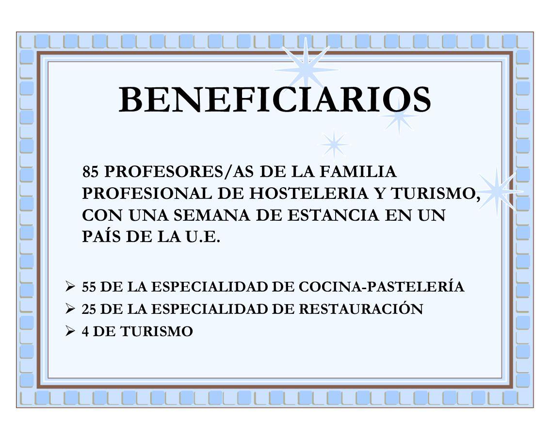 BENEFICIARIOS 85 PROFESORES/AS DE LA FAMILIA PROFESIONAL DE HOSTELERIA Y TURISMO, CON UNA SEMANA DE ESTANCIA EN UN PAÍS DE LA U.E. 55 DE LA ESPECIALID