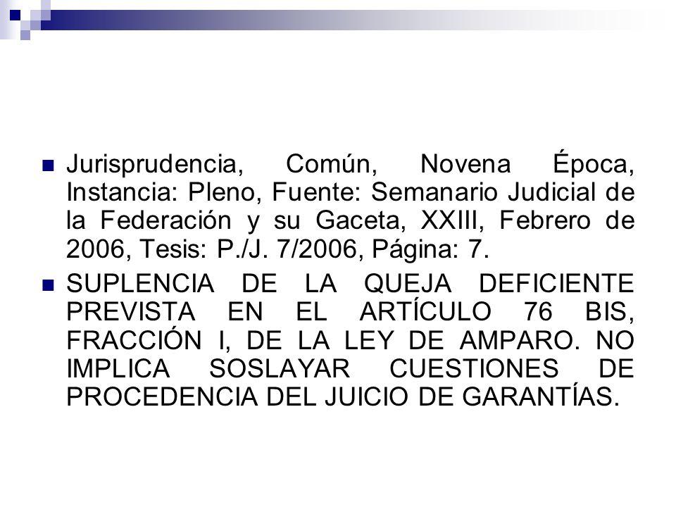 Jurisprudencia, Común, Novena Época, Instancia: Pleno, Fuente: Semanario Judicial de la Federación y su Gaceta, XXIII, Febrero de 2006, Tesis: P./J. 7