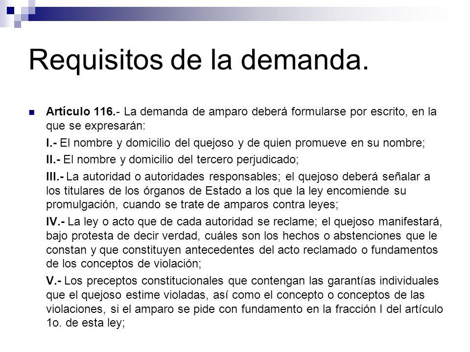 Requisitos de la demanda. Artículo 116.- La demanda de amparo deberá formularse por escrito, en la que se expresarán: I.- El nombre y domicilio del qu