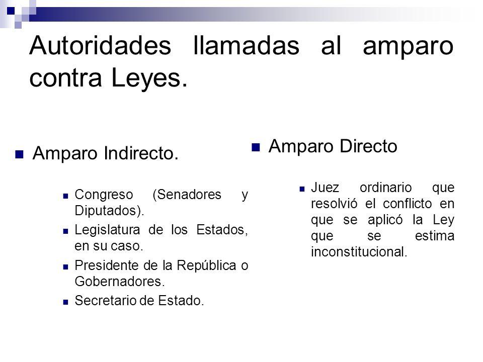 Autoridades llamadas al amparo contra Leyes. Amparo Indirecto. Congreso (Senadores y Diputados). Legislatura de los Estados, en su caso. Presidente de